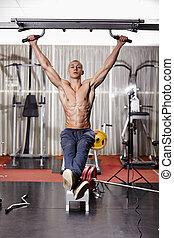 atlético, hombre, ahorcadura, piernas, aumento