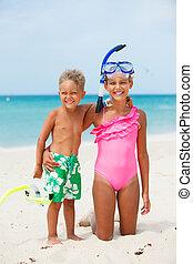 praia, crianças, Feliz