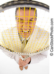 top view of boss holding tennis racket on white background