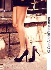 alto, calcanhar, sapatos