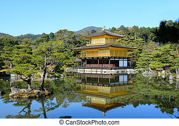 Kinkakuji Temple The Golden Pavilion in Kyoto, Japan and its...