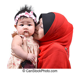 Young Asian muslim mother kissing her cute baby girl isolated on white background