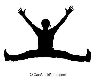 young male with arms up stretching his legs on isolated...