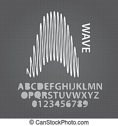 Abstract Wave Alphabet and Numbers Vector