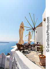 View of Fira town - Santorini island,Crete,Greece. White...