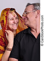 senior man and woman in traditional Indian clothing