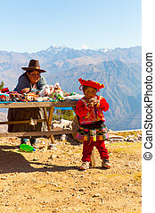 Souvenir market on street of Ollantaytambo,Peru,South...