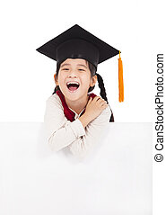 happy school little girl holding blank billboard