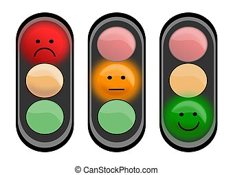 Three traffic lights with smiley faces - illustrations