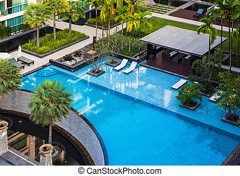Swimming pool with beautiful landscape.