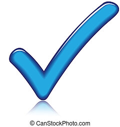 Blue check - Vector illustration of blue check icon on white...