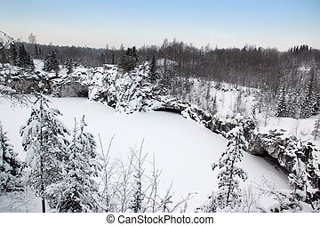 Winter in old marble quarry, Karelia, Russia
