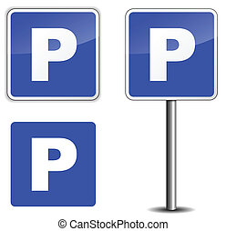 Parking sign - vector illustration of parking sin on white...