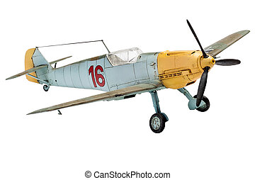 Model military aircraft on a white background. - toy model...