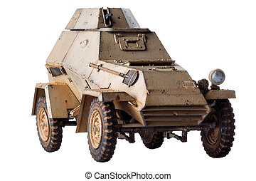 Toy military vehicle on white background