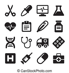 Medical icons set on white background Vector