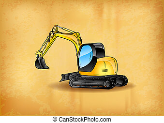 excavator on the old paper background