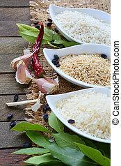 Three types of rice, ingredients, food closeup
