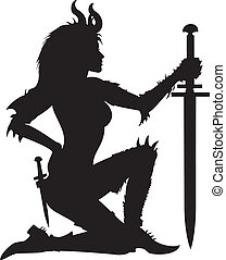 Warrior woman silhouette - Stylized woman warrior with...