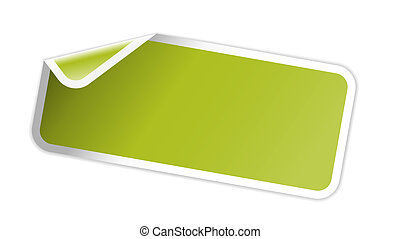 The green glossy label with folded - The blank rectangular...