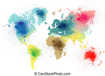 colorful world map paint stains