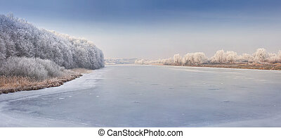 Panorama of the frozen river.