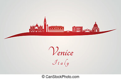 Venice skyline in red and gray background in editable vector...