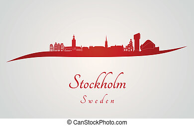 Stockholm skyline in red and gray background in editable...