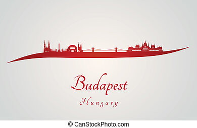 Budapest skyline in red and gray background in editable...