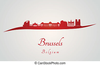 Brussels skyline in red and gray background in editable...