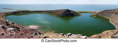 Crocodile lake on Central island on Lake Turkana, Kenya. -...