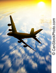 silhouette of plane fly in the skys - silhouette of plane...