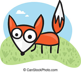 Cartoon fox - Cute cartoon fox on a green field