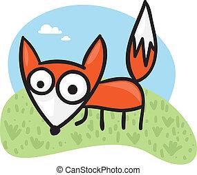 Cartoon fox - Cute cartoon fox on a green field