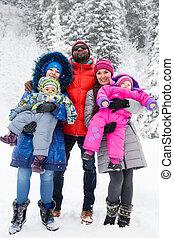 heureux, famille, enfants, ski, complet, neigeux, hiver,...