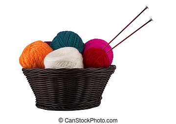 threads for knitting - Wattled basket with balls of threads...