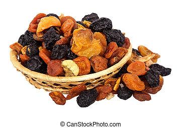 cesta, secado, frutas