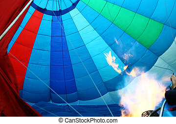 flame seen inside a hot air balloon