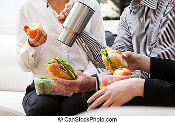 Fast break during work - Fast break to eat second breakfast...
