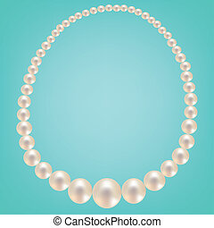 Pearl necklace on turquoise background Vector illustration