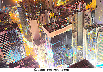 Night view of Hong Kong downtown - Top view on Hong Kong at...