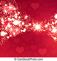 Shiny sparkling background, transparent falling hearts,...