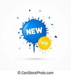 Blue, Yellow Vector Sale Blots Icons with New Title