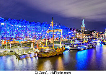 Riverside of Bremen, Germany - Christmas market illumination...