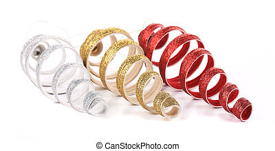 Christmas spiral toy red silver golden. Isolated on a white...