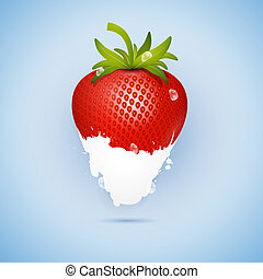 Fresh Strawberry Dipped In Ice Cream, Milk Isolated on Blue...