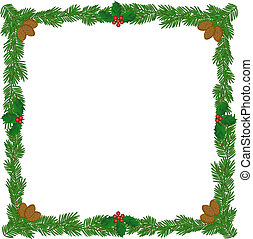 Christmas wreath frame with pine cones and holly berries