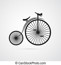 Abstract Vector Old, Vintage Bicycle, Bike Isolated on White...