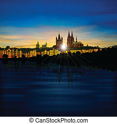 abstract background with silhouette of koln - abstract...