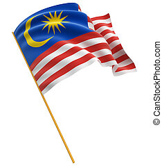 3D flag of Malaysia with fabric surface texture. White...